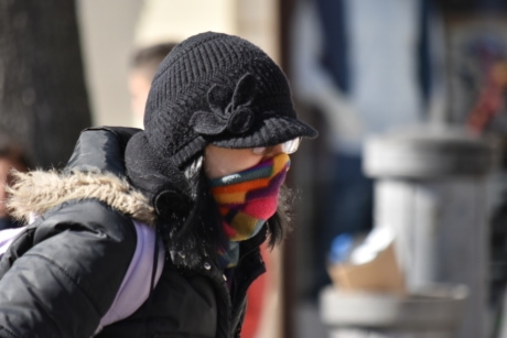 coronavirus, COVID-19, person, protein, scarf, street, veil, mask, winter, woman