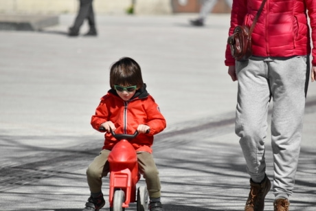 bicycle, childhood, father, playful, tricycle, walking, child, fun, street, people