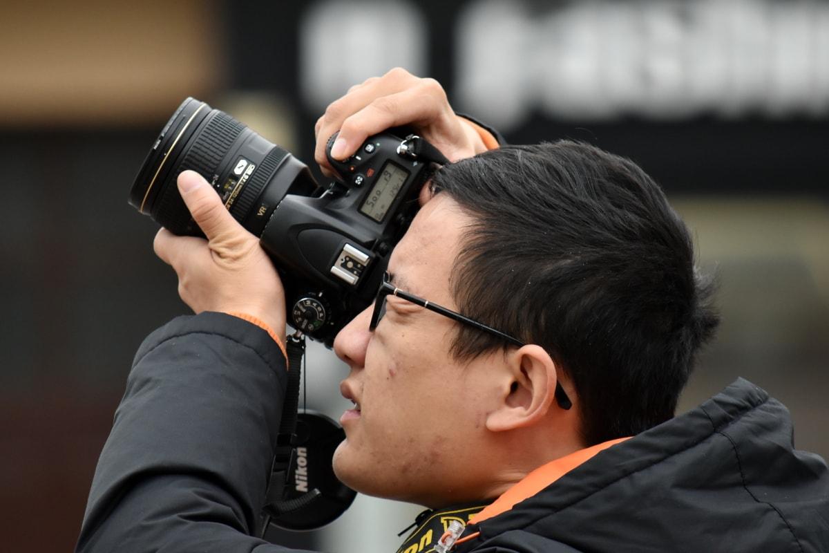 photographe, Photojournaliste, professionnel, vue de côté, Zoom, équipement, objectif, appareil photo, homme, journaliste