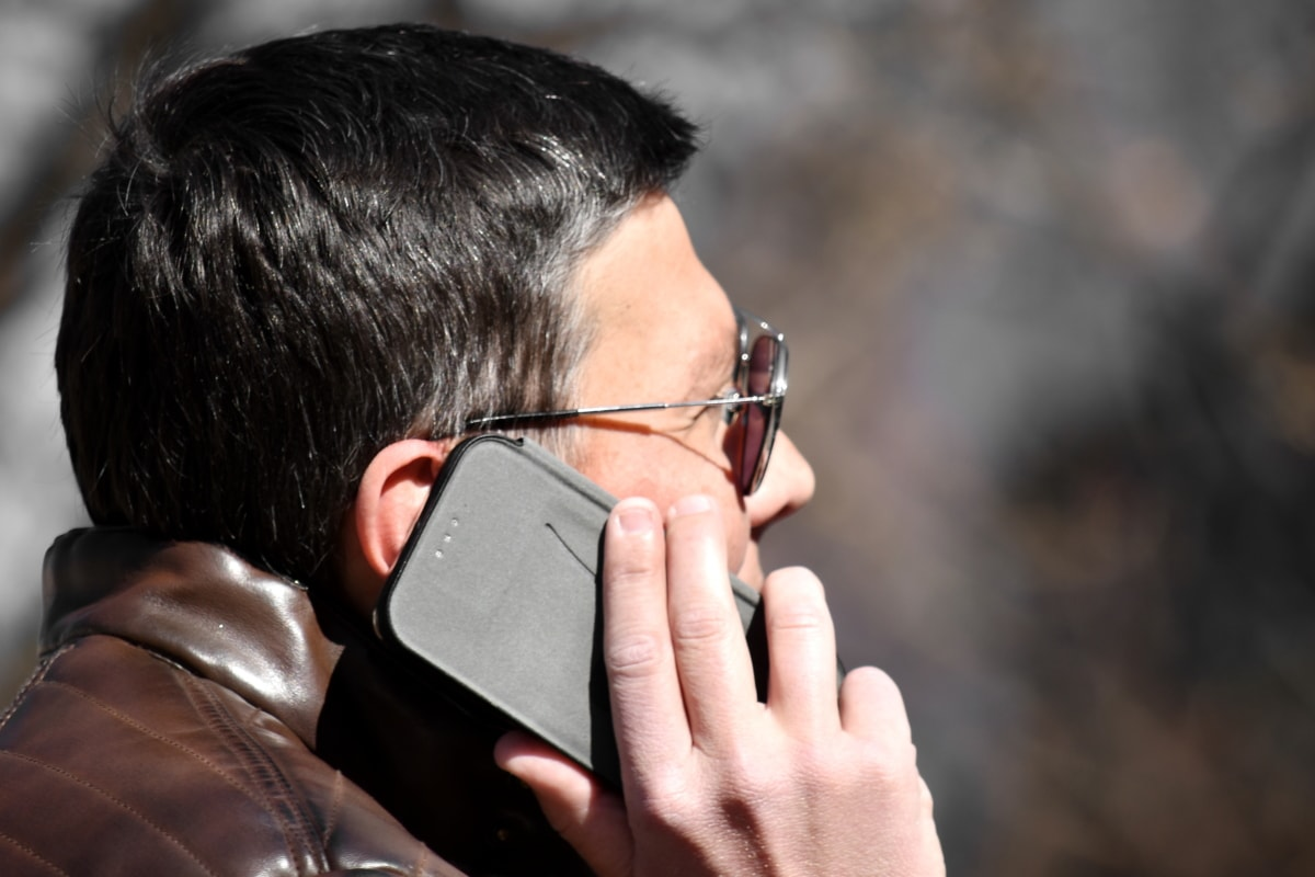 businessman, businessperson, ear, hand, mobile phone, profile, side view, telecommunication, people, telephone