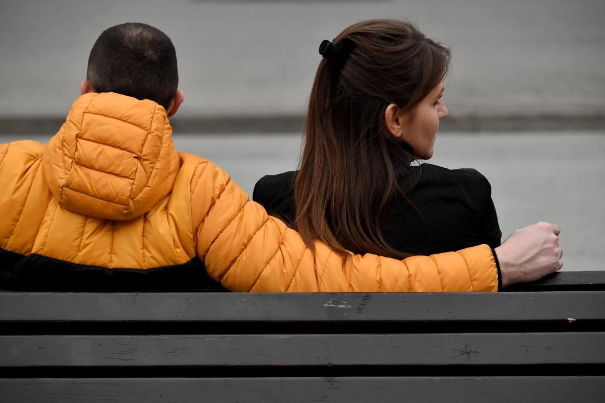 Zuneigung, Sitzbank, Freund, paar, Freundin, Umarmung, Liebe, Zweisamkeit, Mädchen, Menschen