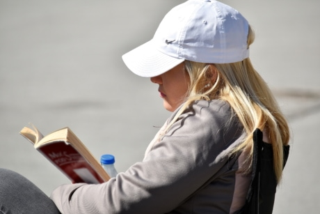 blonde hair, book, enjoyment, gorgeous, reading, hat, woman, people, outdoors, portrait