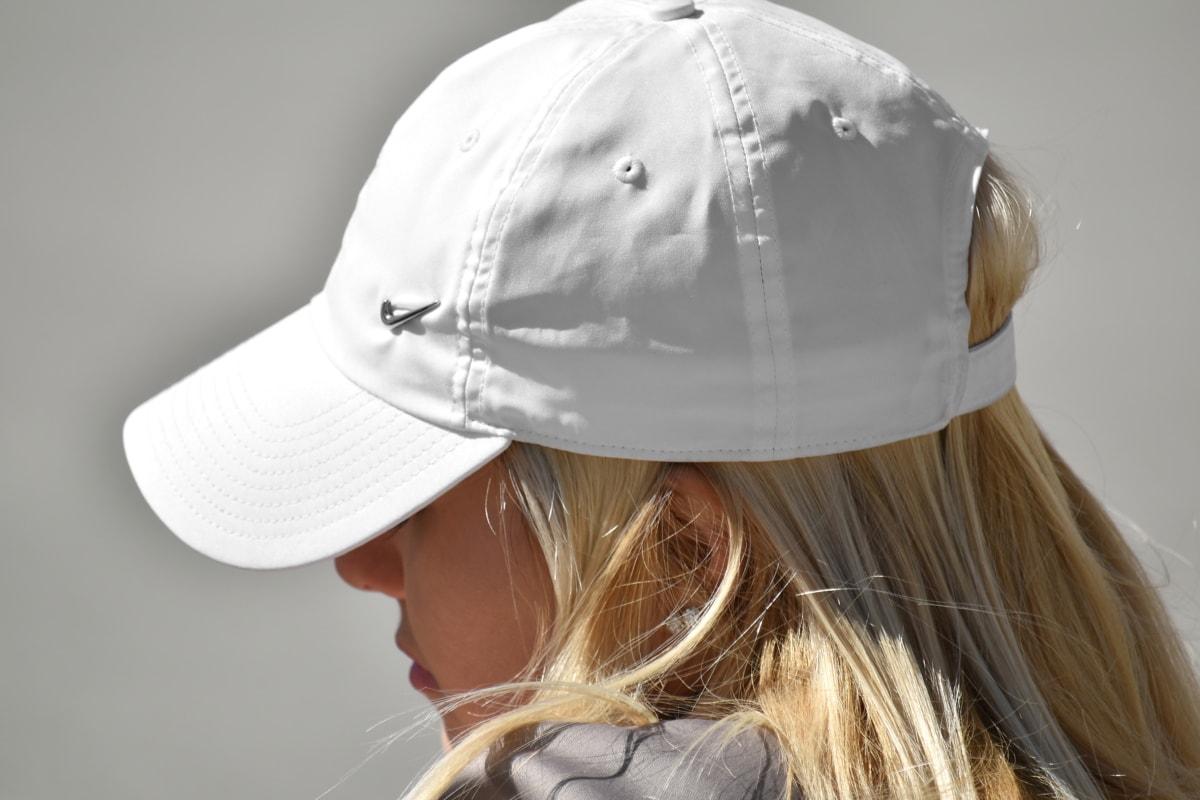 아름 다운, 금발 머리, 화려한, 모자, 측면 보기, 소녀, 패션, 여자, 머리, 예쁜