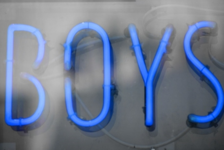 advertising, alphabet, blue, boys, electricity, illumination, marketing, neon, sign, text