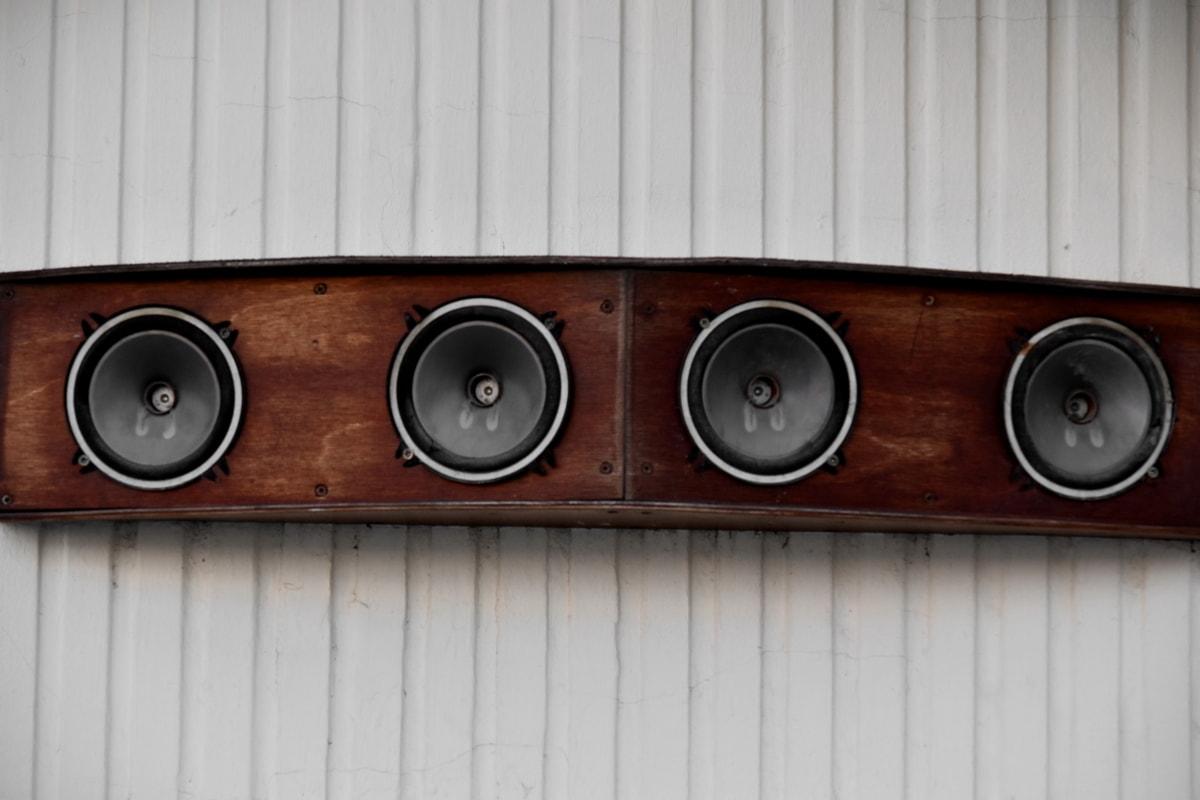 Audio, ääni, kaiutin, laitteet, puhuja, Musiikki, Stereo, puu, vanha, retro