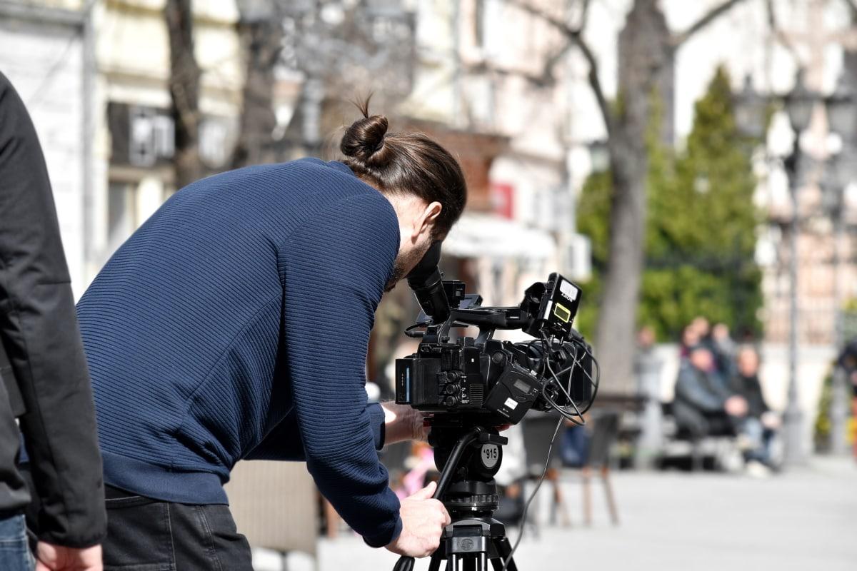 camera, employment, man, recording, television news, tripod, video recording, worker, equipment, street