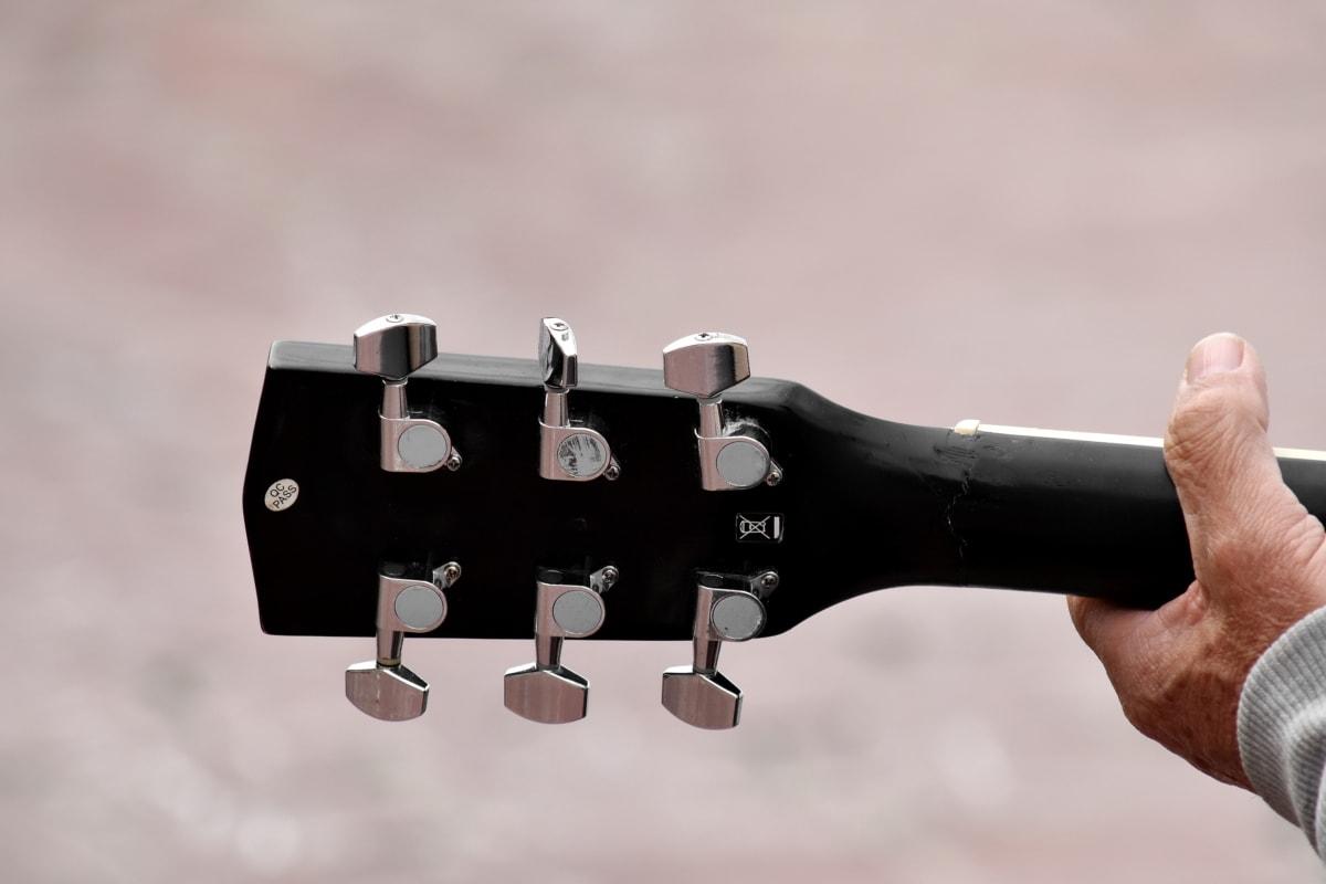 akusztikus, gitár, gitáros, eszköz, zene, kéz, emberek, ember, fa, eszköz