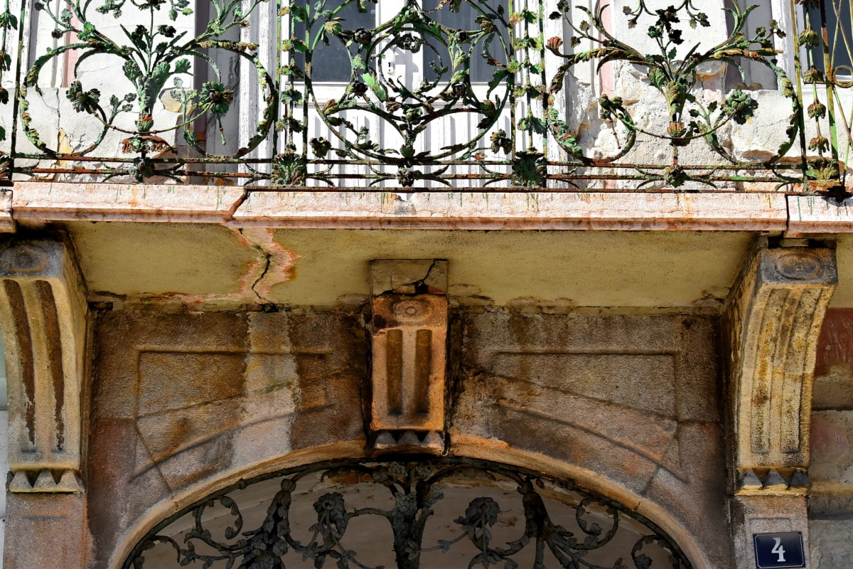 arch, balcony, building, cast iron, facade, fence, architecture, house, old, window