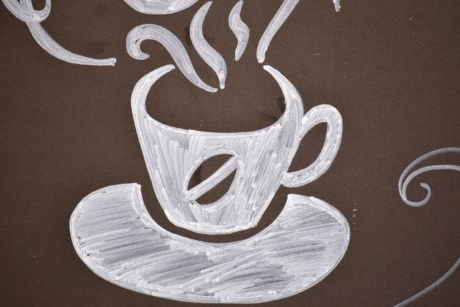 advertising, coffee, coffee mug, drawing, drawing chalk, marketing, sign, cup, mug, tea