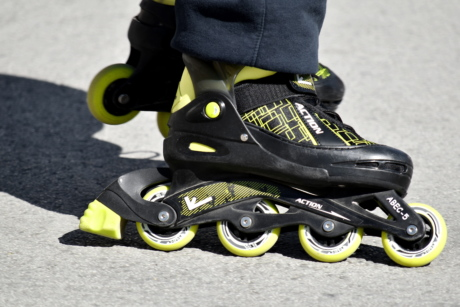 roller, shoes, pair, footwear, foot, skate, shoe, leather, recreation, sport