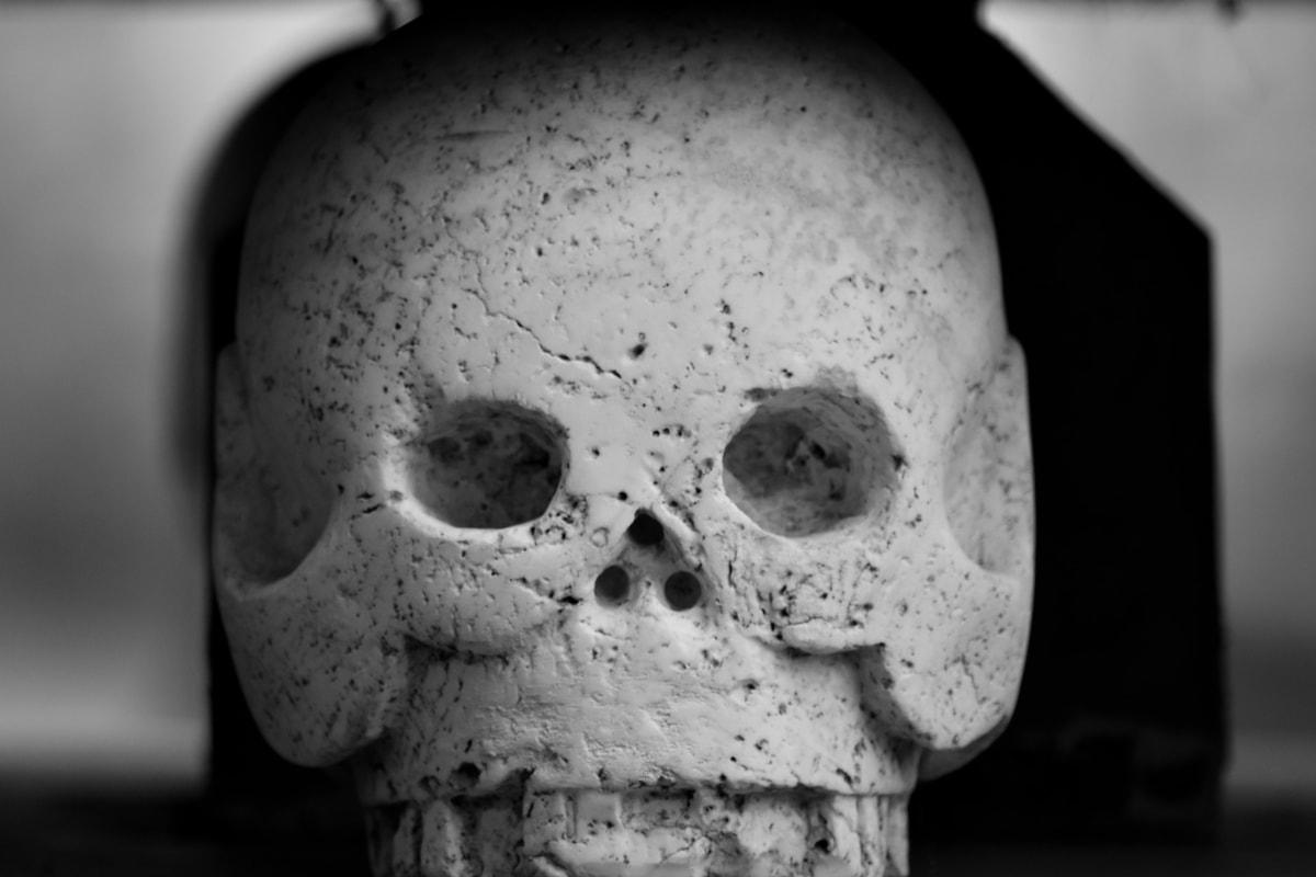 opera d'arte, testa, marmo, teschio, bianco e nero, Cimitero, tomba, anatomia, viso, uomo