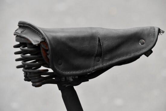 bicycle, old, leather, seat, device, fashion, elegant, classic, steel, retro