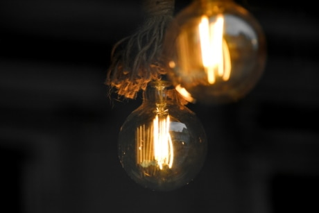 darkness, electricity, hanging, light, light bulb, rope, illuminated, fire, bulb, wire
