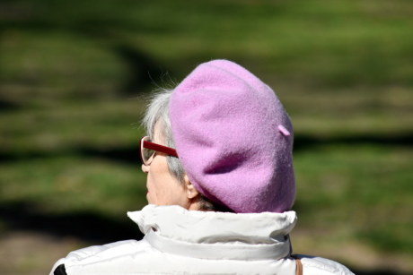 elderly, eyeglasses, grandmother, hat, person, relaxation, side view, nature, outdoors, grass