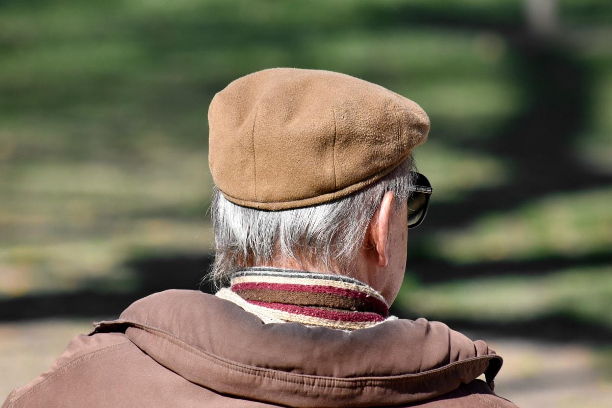 seul, vêtements, grand-père, chapeau, écharpe, vue de côté, lunettes de soleil, vêtements, gens, Portrait