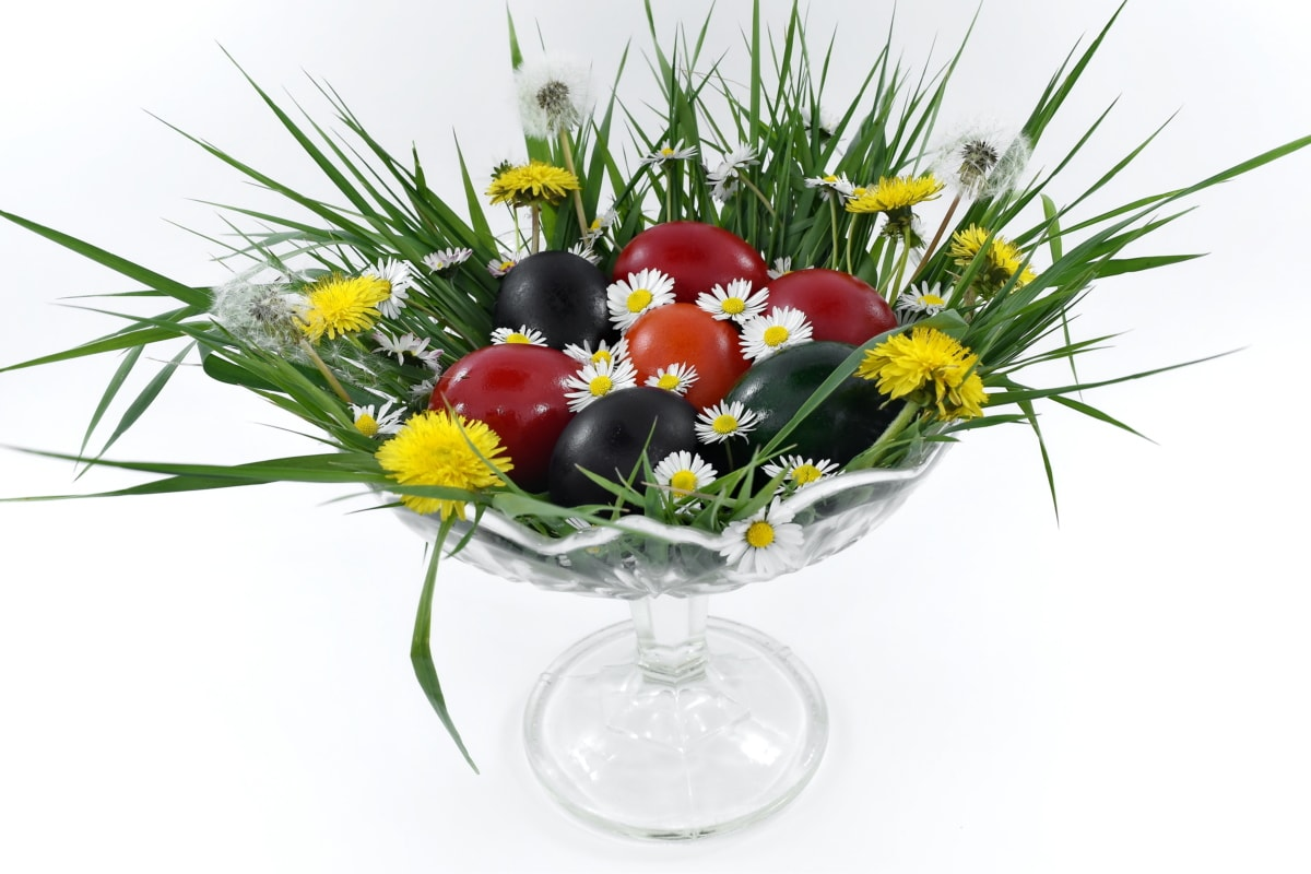 arrangement, christianity, colorful, dandelion, decoration, easter, egg, holiday, orthodox, red