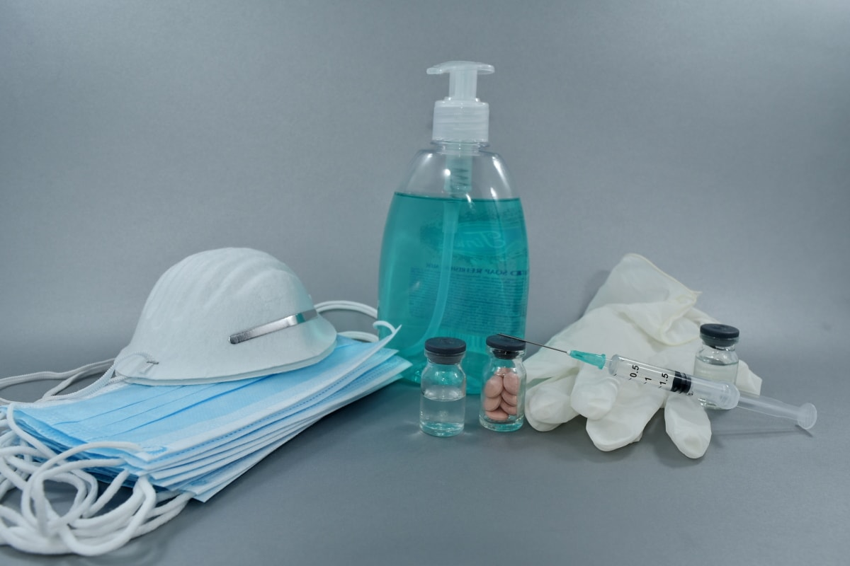cure, face mask, liquid, pills, protection, soap, vaccination, vaccine, lotion, bottle