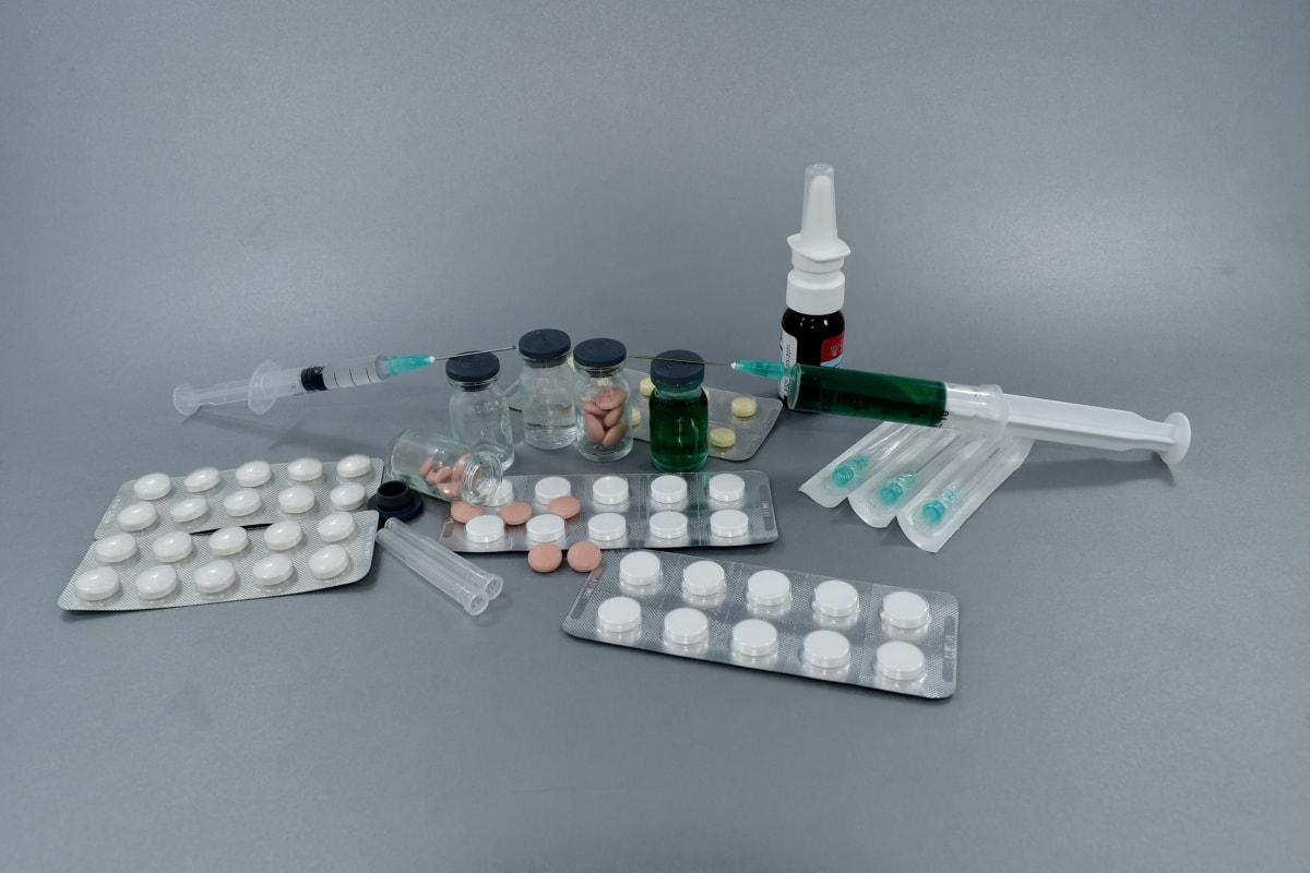 aspirin, kur, injeksjon, injektor, medisinering, piller, resept, sprøyte, terapi, behandling