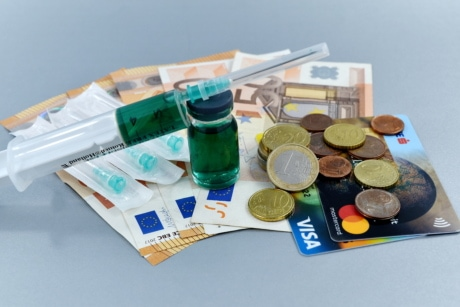 cash, cost, currency, finance, income, injection, loan, medical care, medication, savings