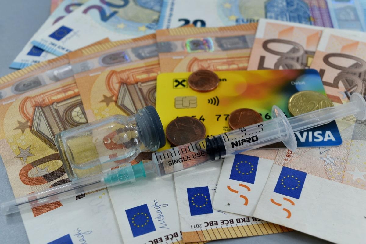 mynt, bota, sjukdom, ekonomisk tillväxt, ekonomin, Finance, hälso-och sjukvård, sjukdom, injektion, Pappers-pengar