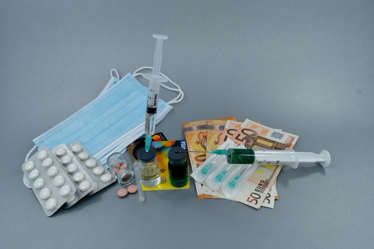 รักษา, ยาเสพติด, หน้ากาก, สุขอนามัย, ยา, ยาแก้ปวด, เงินกระดาษ, ยา, ป้องกัน, เข็มฉีดยา