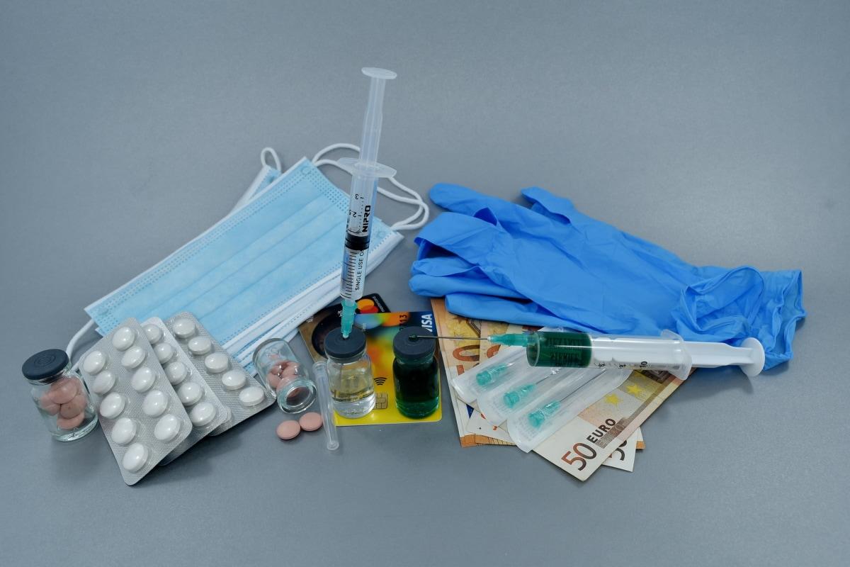 dinero en efectivo, productos químicos, coste, cura, drogas, mascara facial, guantes, enfermedad, inyección, látex
