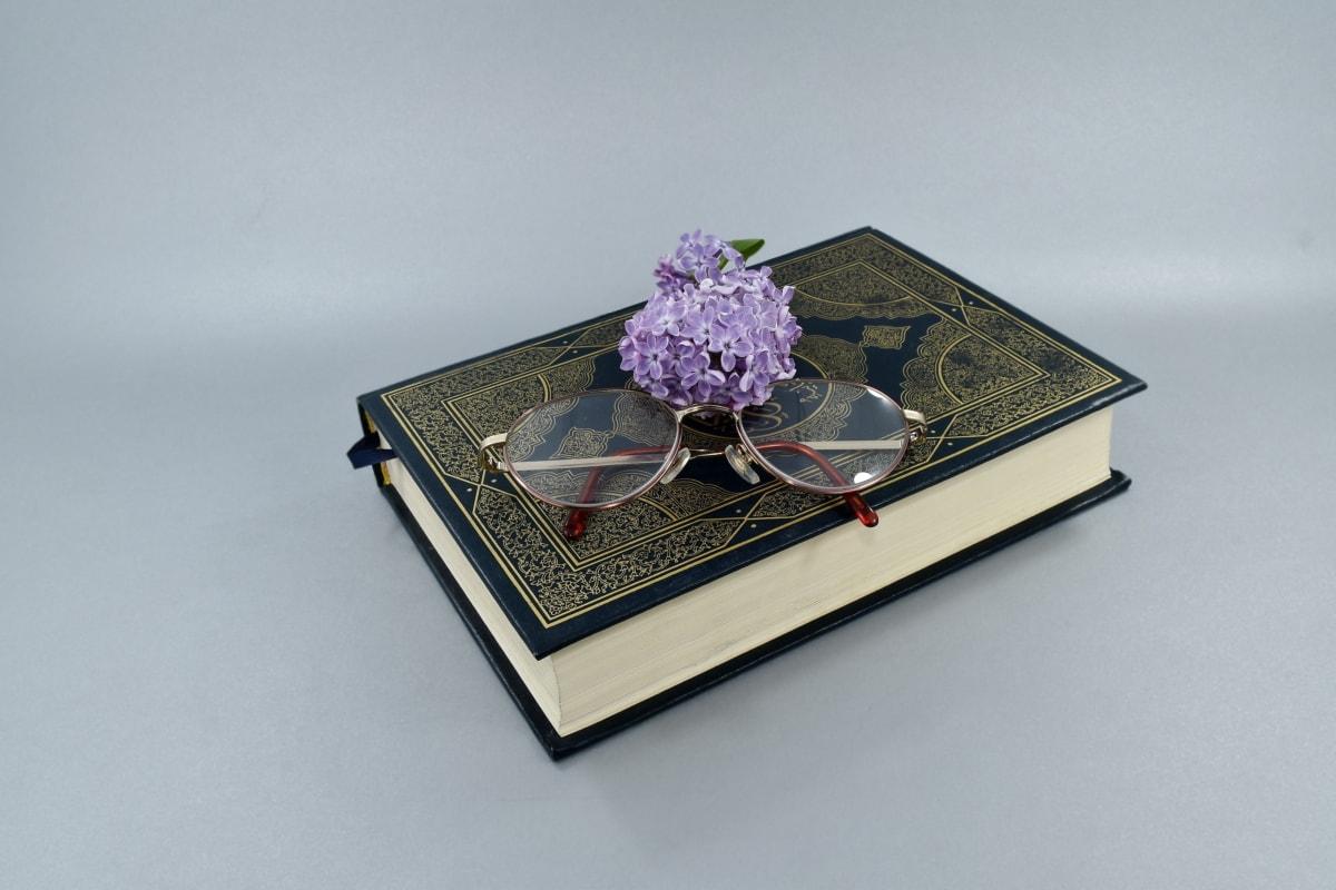 knjiga, naočale, cvijet, znanje, lila cvijet, uvećanja, poezija, čitanje, mrtva priroda, umjetnost