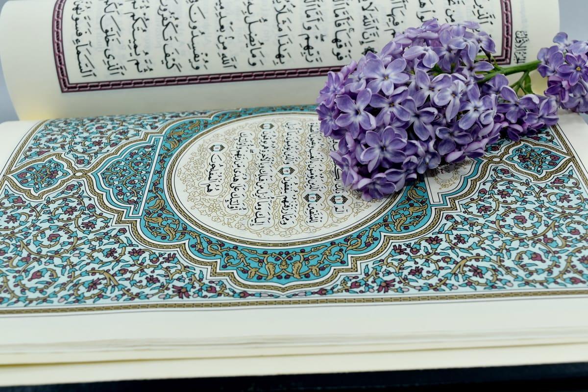 Arabesque, Arabisch, bloem, illustratie, Islam, taal, lila, geletterdheid, literatuur, decoratie