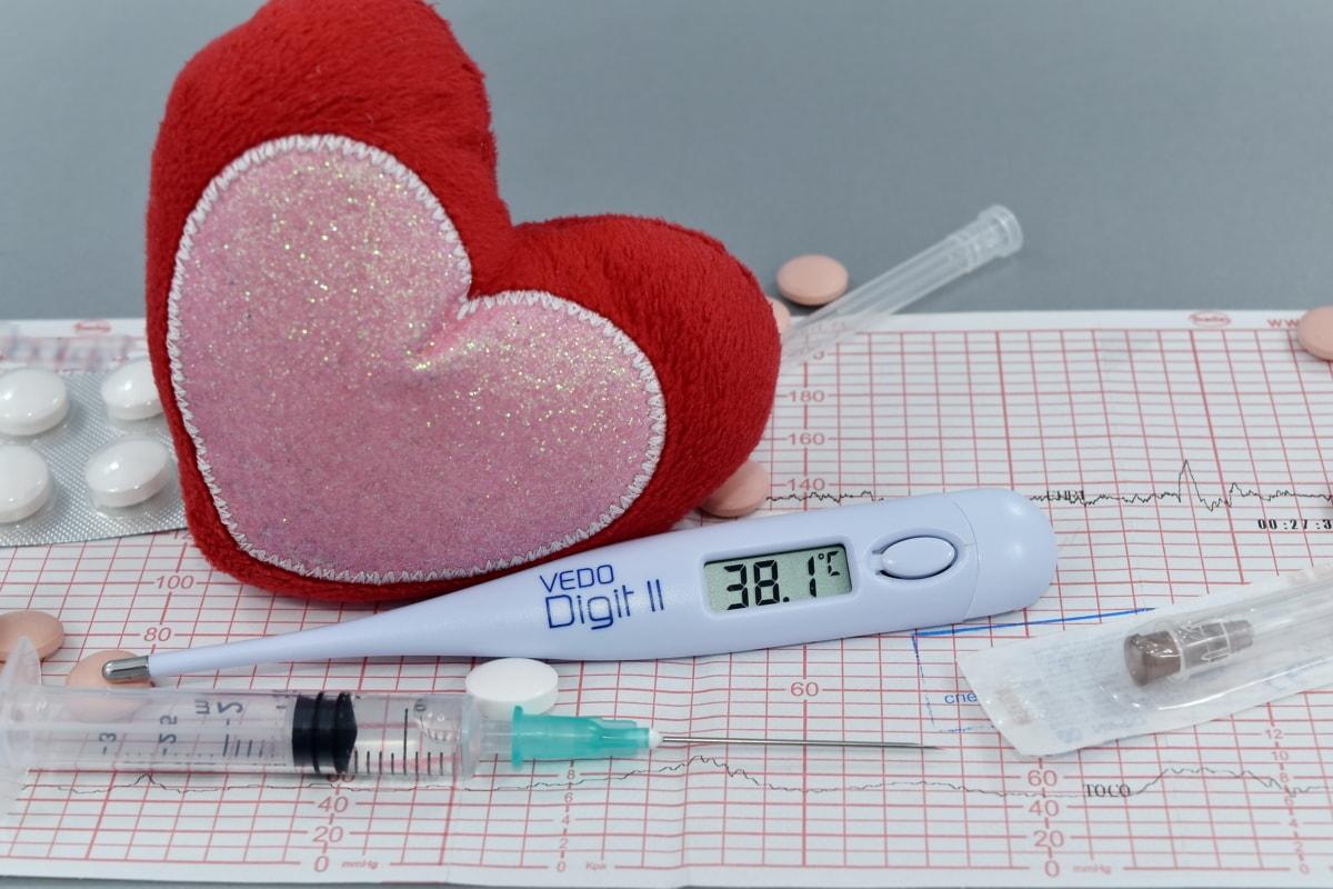 Fieber, Herz, Herzinfarkt, Herzschlag, Krankheit, Temperatur, Thermometer, Medizin, Gesundheit, Gesundheitswesen