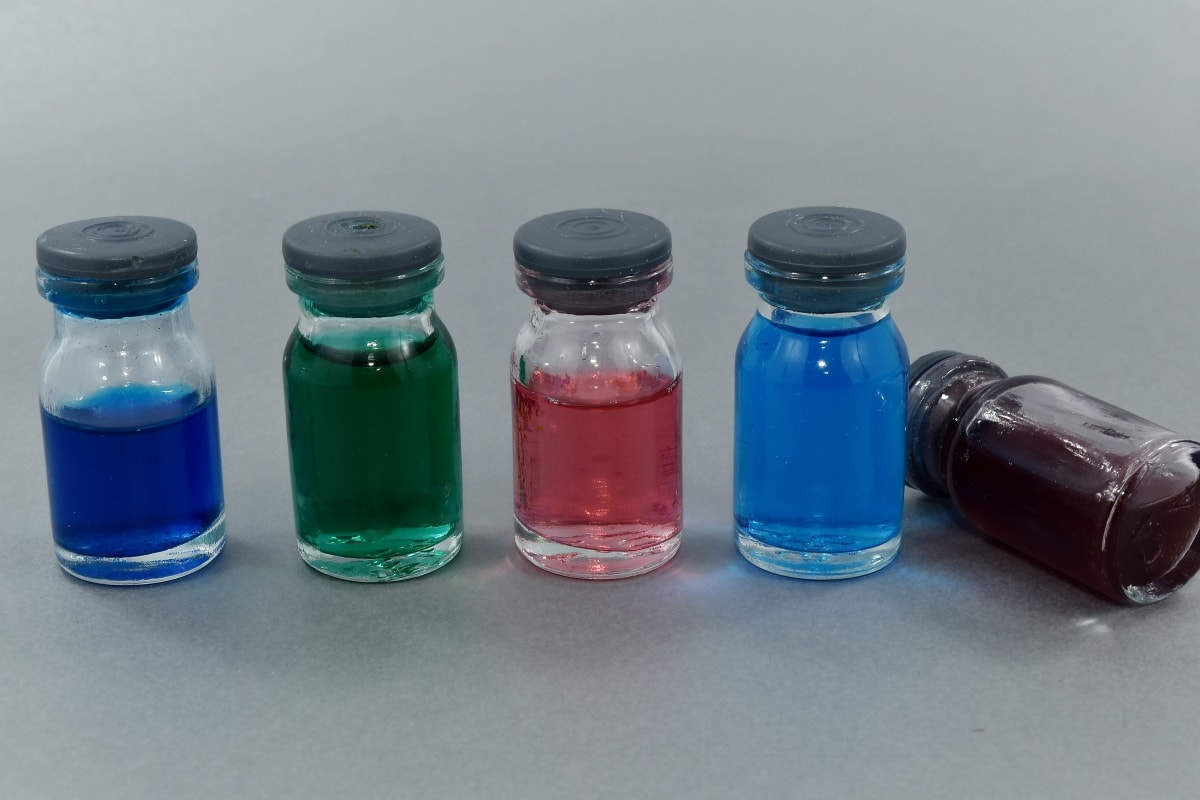 biochemistry, bottles, chemicals, chemistry, colorful, colors, liquid, pharmacology, container, glass