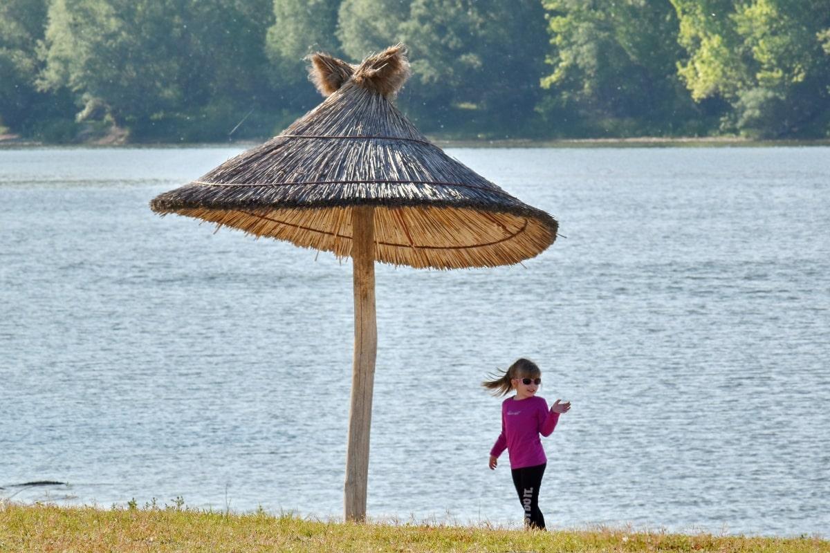 ammophiles, petite enfance, parasol, Jolie fille, printemps, lunettes de soleil, plage, eau, océan, mer