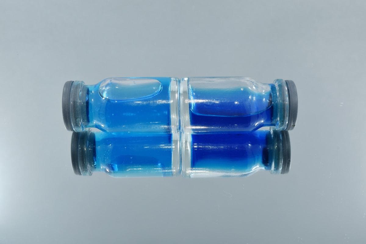 mavi, şişe, Yatay, sıvı, ayna, yansıma, plastik, şişe, Natürmort, cam