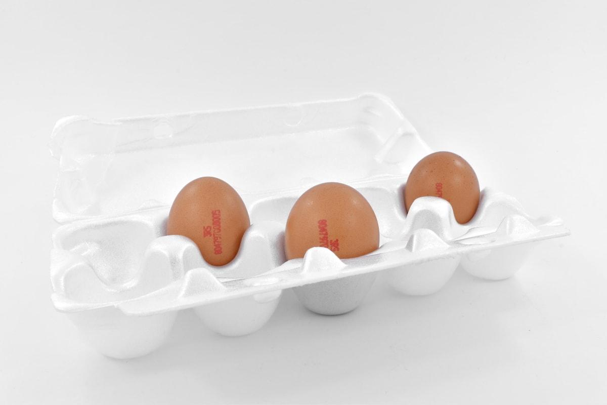 egg box, three, white, chicken, egg, food, eggshell, breakfast, cholesterol, still life