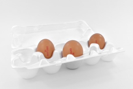 egg box, three, white, chicken, egg, food, eggshell, breakfast, cholesterol, still life