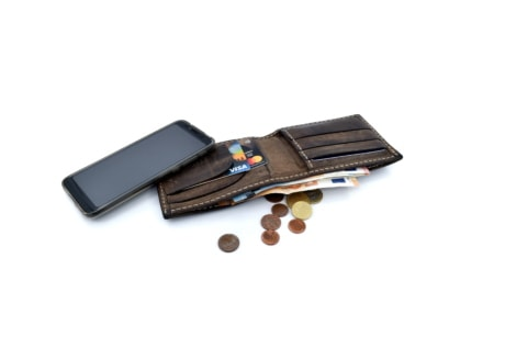 banking, banknote, cellphone, coins, communication, internet, paper money, leather, business, fashion