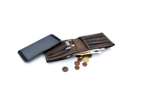 wallet, banknote, cellphone, coins, communication, internet, paper money, leather, business, fashion