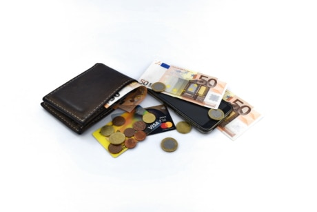 wallet, cash, coins, communications, internet, mobile phone, money, business, savings, currency, shopping