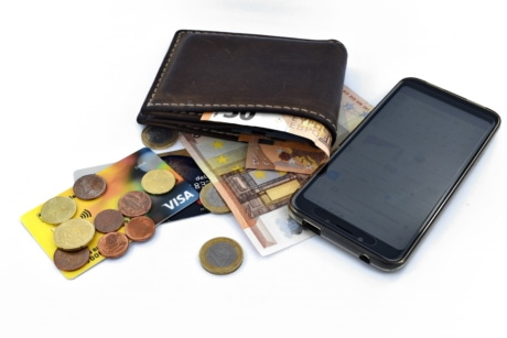 credit card, coins, cost, credit, internet, loan, mobile phone, wallet, paper money, price