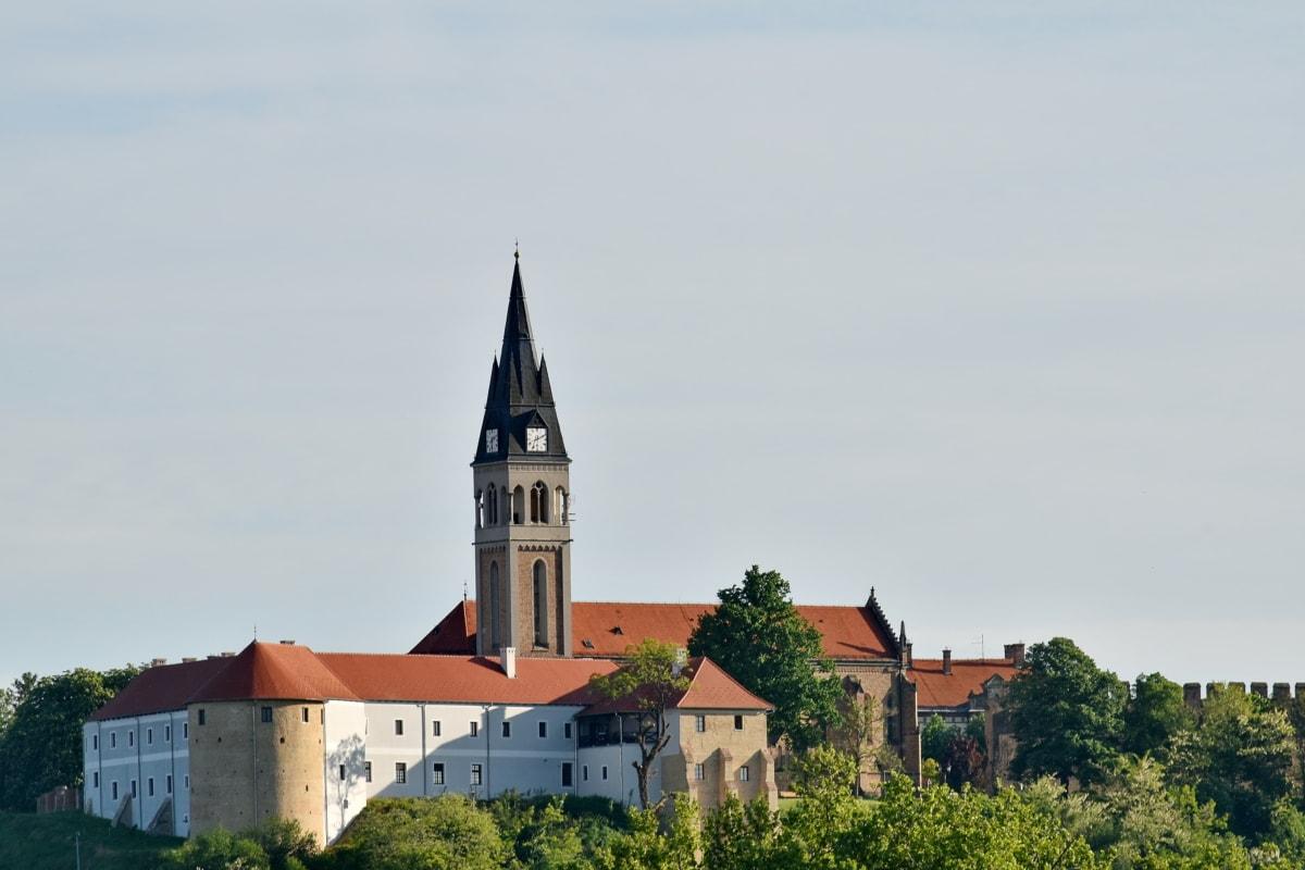 kastély, templom tornya, Horvátország, dombtető, középkori, kolostor, bástya, építészet, templom, torony