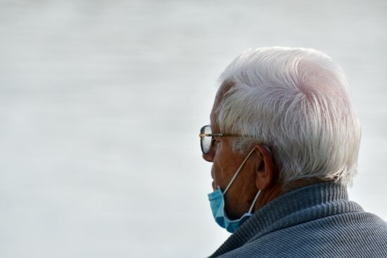 COVID-19, elderly, face mask, grandfather, infectious agent, infectious disease, man, respiratory tract, senior, elder