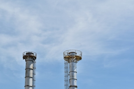 height, industrial, metallic, tower, pollution, chimney, high, blue sky, steel, electricity