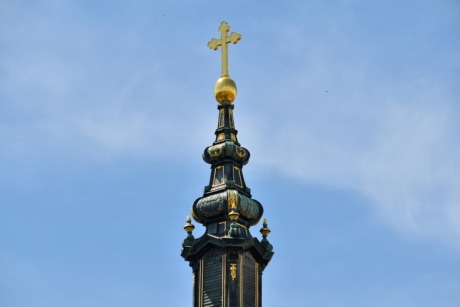 church tower, cross, golden glow, golden shiner, spirituality, architecture, device, old, church, religion