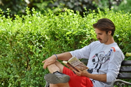 book, garden, good looking, hairstyle, handsome, intelligence, man, mustache, reader, reading