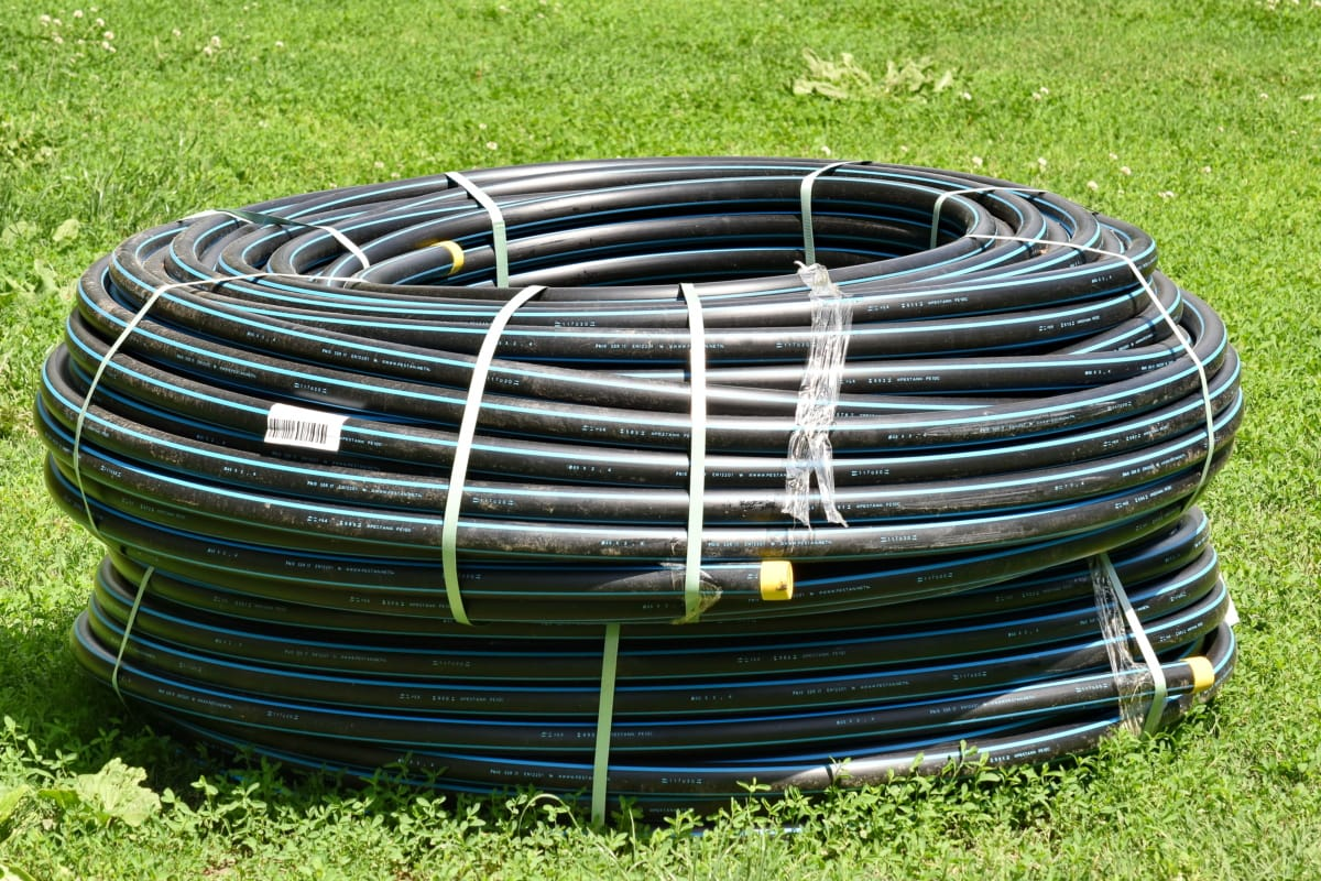 grassland, industrial, meadow, object, pipe, pipeline, piping, plastic, grass, outdoors