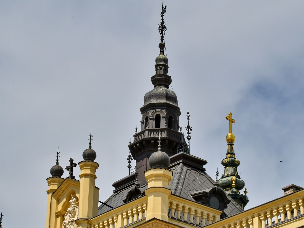 baroque, christianity, church tower, cross, monastery, orthodox, roof, rooftop, Serbia, dome