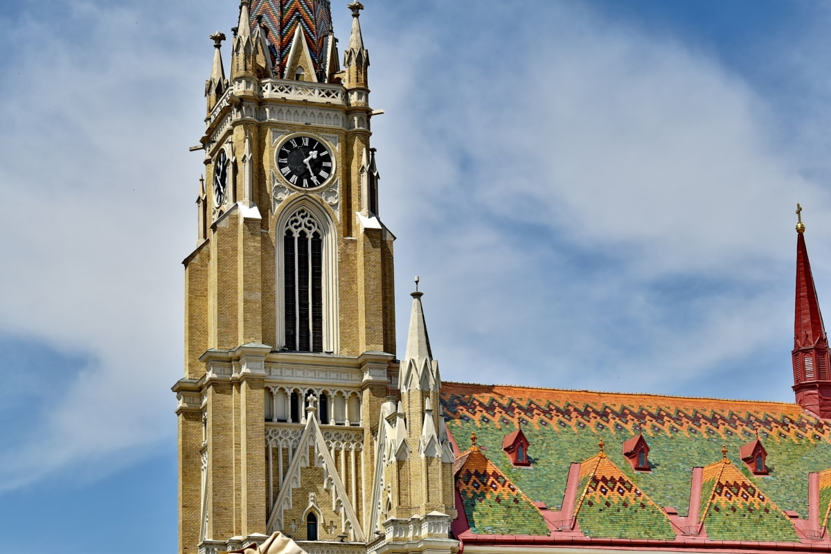 architectural style, architecture, cathedral, catholic, christianity, church tower, colorful, Europe, religious, roof