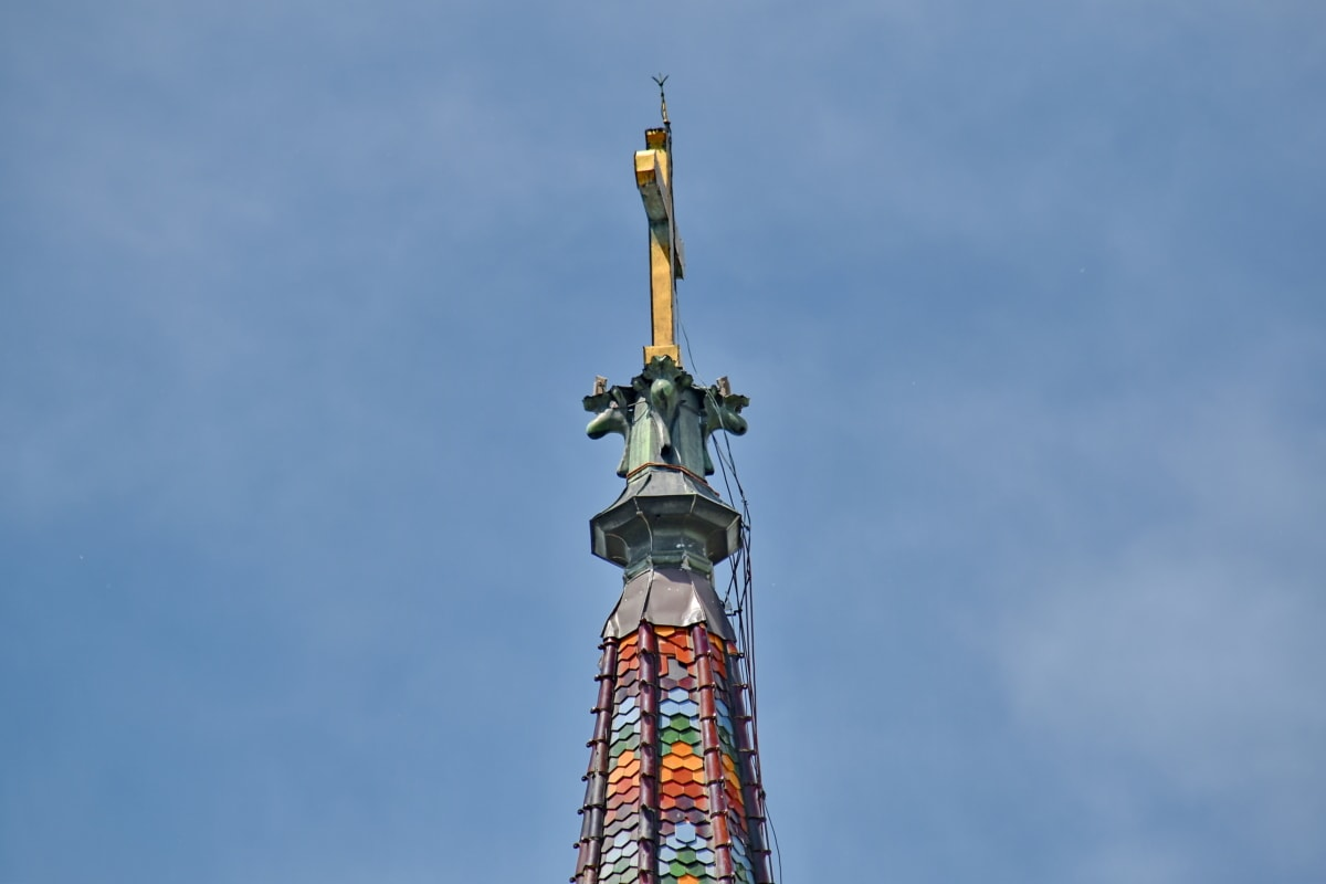 art, belief, christianity, church tower, golden shiner, height, religion, tall, wires, device
