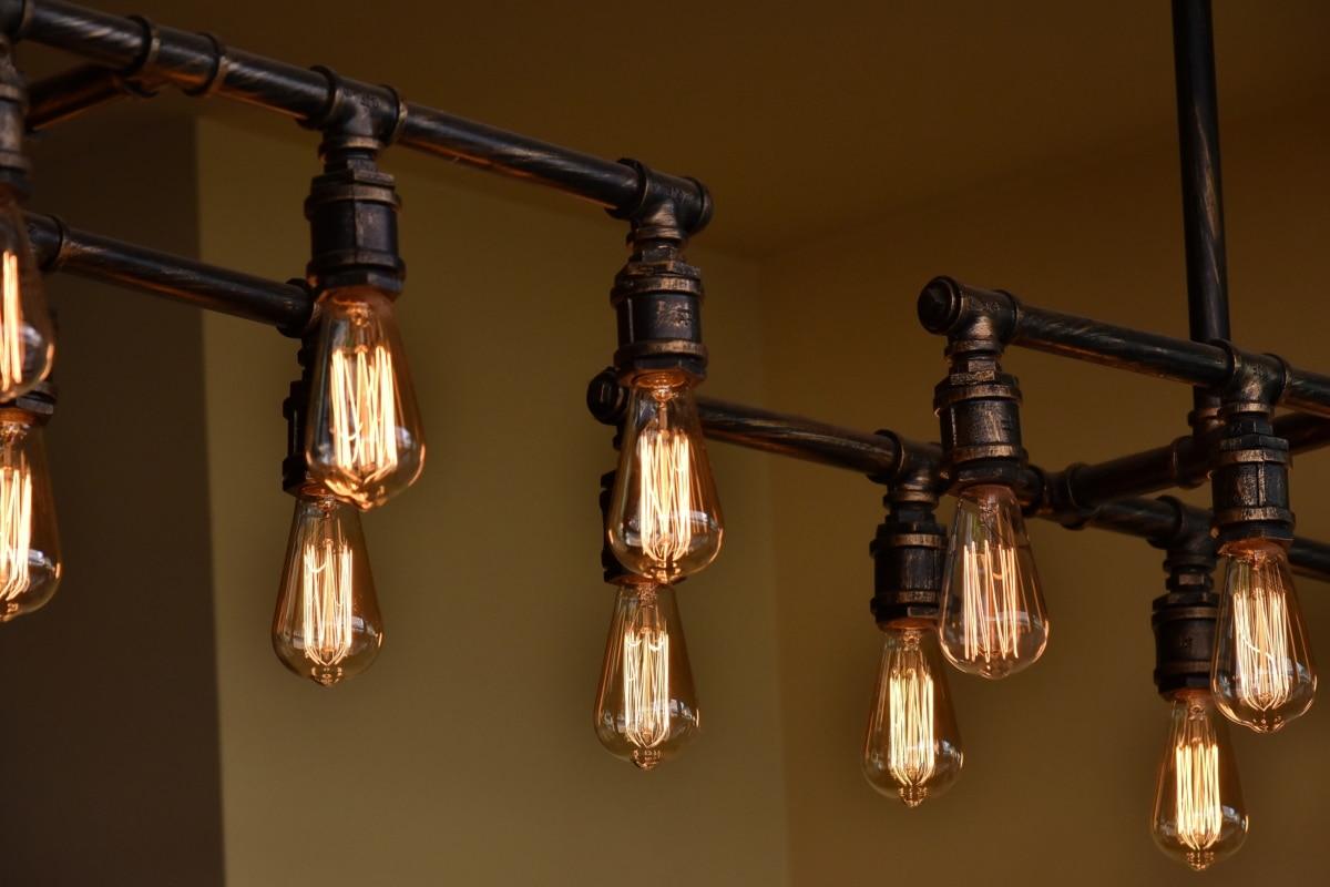 chandelier, contemporary, hanging, light brown, light bulb, device, antique, brass, retro, lamp