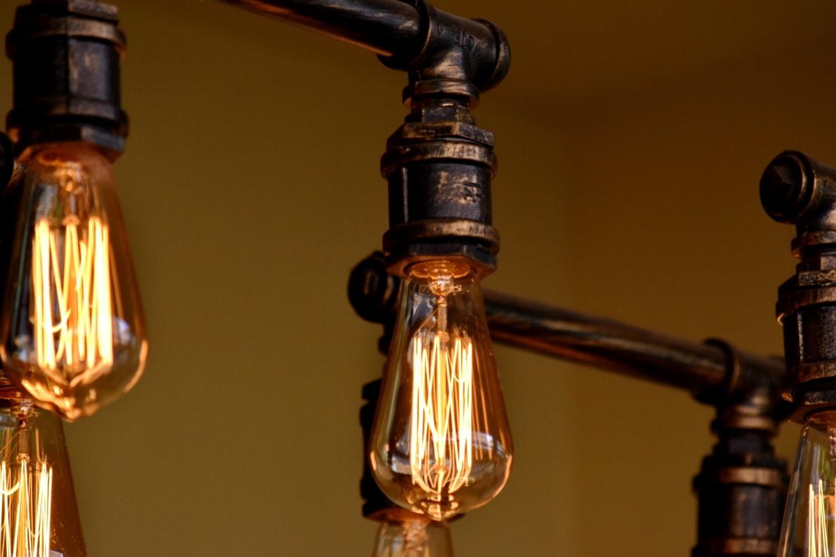 light bulb, old, pipe, lamp, vintage, light, antique, brass, glass, still life