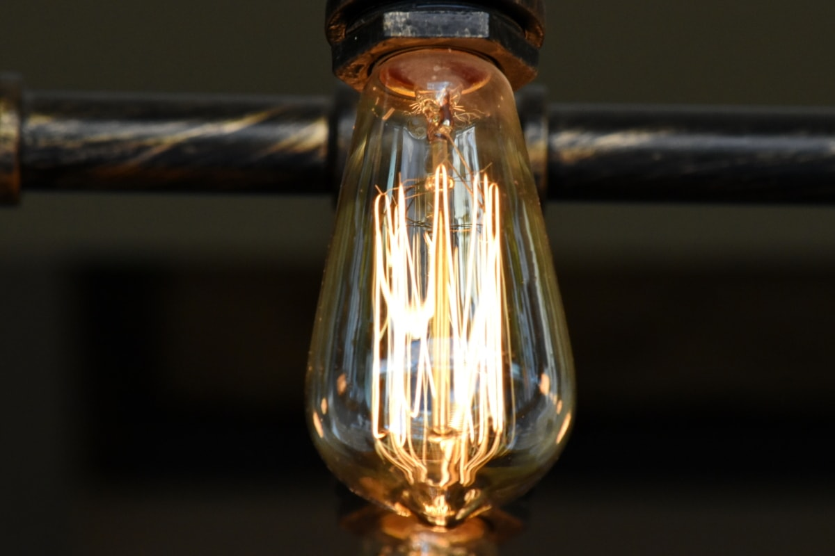 chandelier, light brown, light bulb, pipe, transparent, glass, dark, lamp, electricity, energy